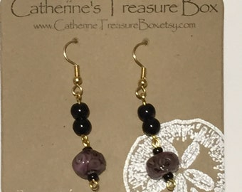 Handmade Purple Art Glass Bead with Black Glass Bead Dangle Earrings on Gold Plated French Hook Ear Wires
