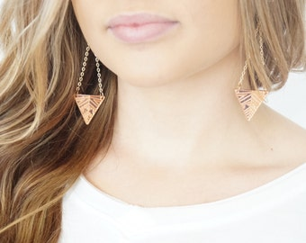 Triangle Earrings, Rose Gold Earrings, Chain Earrings, Rose Gold Dangle Earrings, Rose Gold Triangle Earrings, Boho Earrings