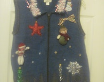 UGLY Christmas sweater vest // UGLY Xmas sweater vest size Large hand embellished womens blue gray full zip christmas vest