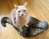 Handmade Stylish Cat Butt crinkly mat for cats. One-of-a-kind. Ultra soft leopard print
