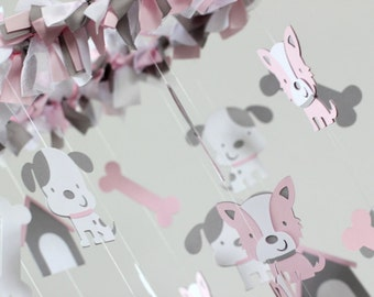 Puppy Dog Nursery Mobile in Pink, Gray & White- Nursery Decor; Baby Shower Gift, Crib Mobile, Gender Neutral Nursery Mobile