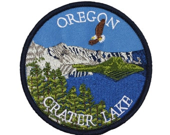 """Souvenir Patch """"Oregon Crater Lake"""" State Tourism National Park Iron-On Applique"""