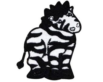 Cute Little Zebra Patch Kids Zoo Animal Safari Apparel Craft Iron-On Applique