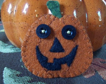 Jack O Lantern Brooch Fall Felt Pin