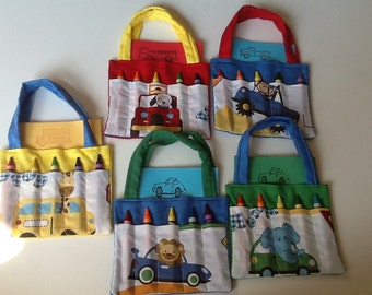 Animals and Vehicles Children's Crayon Bag, Birthday Party Favor
