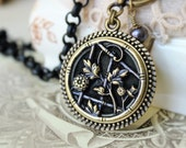 NEW* Antique Button Pendant Necklace Toggle, Flower and Trellis design Victorian Picture Button c.1880, Perfume Button Jewelry veryDonna
