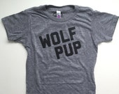 Wolf Pup - Kids Grey Tee - Vintage feel Shirt - Wolves - Raised by Wolves -  Wolf Pup