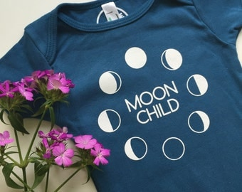 MOON CHILD - Organic Baby One Piece - Baby Romper - Moon phases - Luna Baby