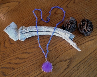 "Ready To Ship 22"" Bead Crochet Necklace With Purple Stalactite Pendant"