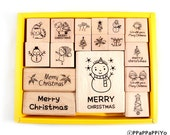 Christmas set rubber stamp (17pcs)
