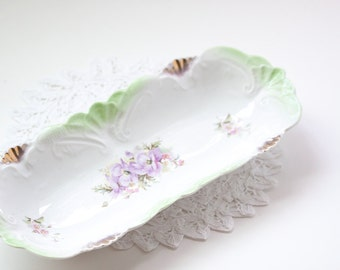 Vintage Celery Dish With Beautiful Accents