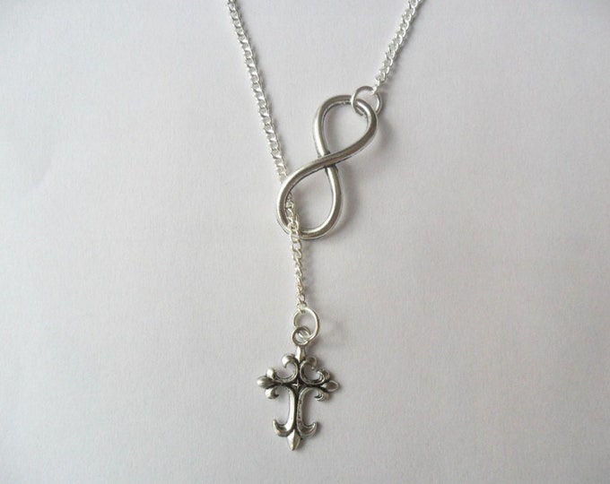Infinity Symbol Cross Necklace Silver Tone Cross Infinity