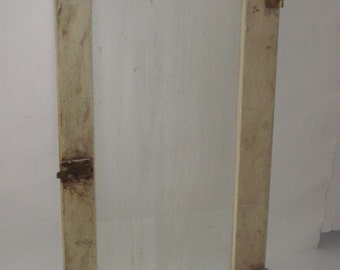 Antique Wood Cabinet Cupboard Door with Old Glass Latch and Hinges