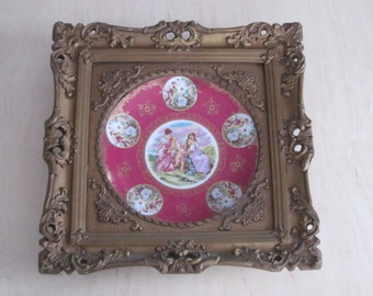 Antique Ornate Gold Gilt Framed Mauve China Charger with Women and Angels Cherubs
