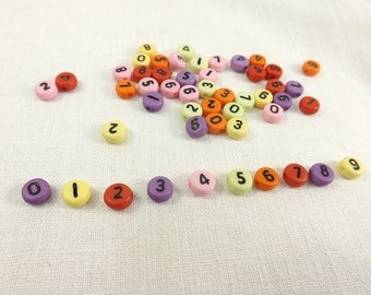 Number beads 0 thru 9 flat round coin style plastic beads 50 pieces craft supply symbol bead