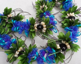 Midnight blue Orchid flower ribbon lei
