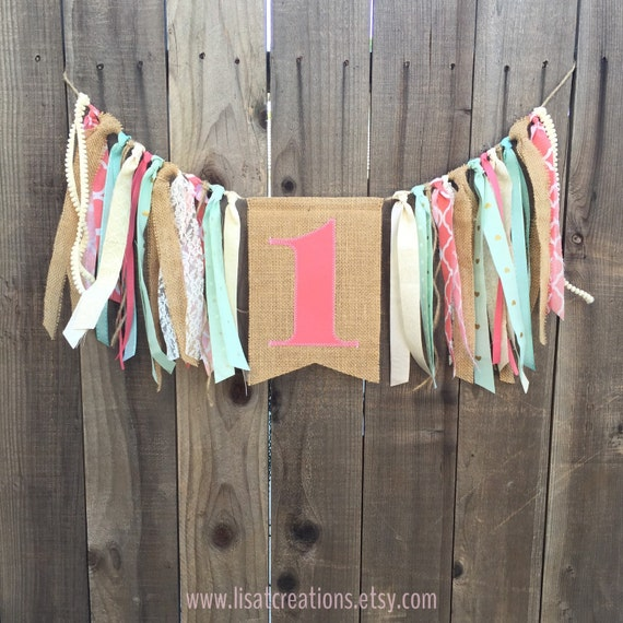 1st Birthday High Chair Banner With Streamers // Burlap