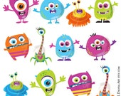 Cute Monster Clipart Digital Little Silly Funny Monster Diy Invitation Craft Scrapbook Teacher VECTOR Graphic COMMERCIAL USE Png Files 10102