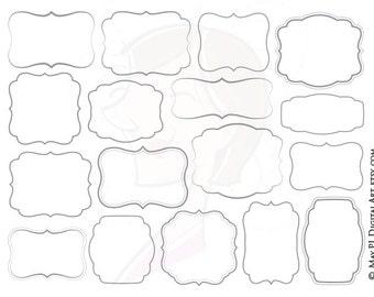 Commercial Use Digital Frames Frame Clip Art Gray Grey Borders DIY Invitations Birthday Wedding Craft Cardmaking Scrapbook Png Images 10593