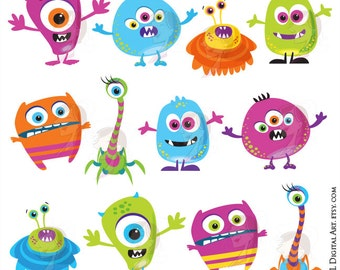 Cute Monster Clipart Little Monster Diy Invitations Birthday Party Scrapbook Teacher Supplies VECTOR Graphics COMMERCIAL USE Png Files 10102