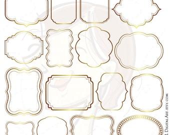 Digital Frames GOLD Borders Wedding Clipart Frame Labels Tag Clip Art Commercial Use Office Business Scrapbook Craft VECTOR Clip Art 10206