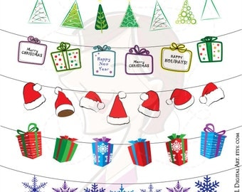 Christmas String Clipart Xmas Hanging Ornaments Clip Art VECTORS Decorations Decor Scrapbook Supplies DIY Christmas Cards 10519
