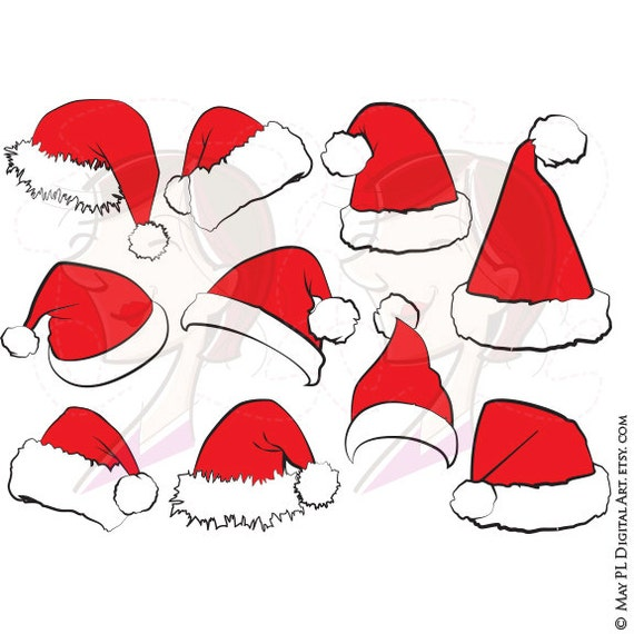 Items similar to Santa Claus Hat Clip Art Christmas Santa Hat ...