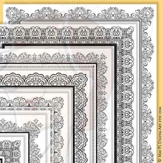 8x11 certificate border frames vector clip art vintage diplomas award document lace decorative borders digital vertical