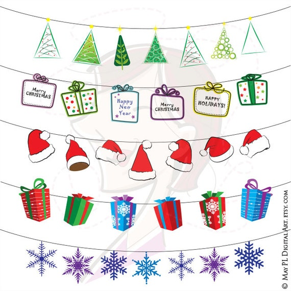 Items similar to Christmas Ornament String Clipart Xmas ...