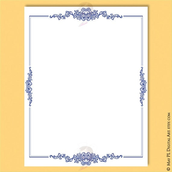 Navy Blue Borders 8x11 Document Page Retro Frames Vintage ...