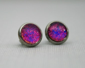 Shake If Off - Pink, Blue and Gold - Color Changing - Stainless Steel Stud Earrings