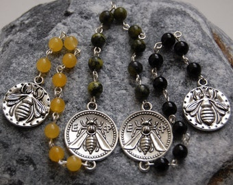 Blessings of the Bee Pagan Prayer Beads/Witches'/Witch's/Druid's Ladder. Bees Bumblebee Bumblebees Honey Goddess Queen Pagan Wicca Witch