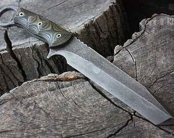 "Handcrafted FOF ""Grit III"" Custom grind full tang tactical tanto and survival blade."