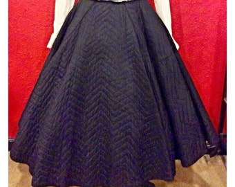 1950s Black Circle Skirt Quilted Rockabilly