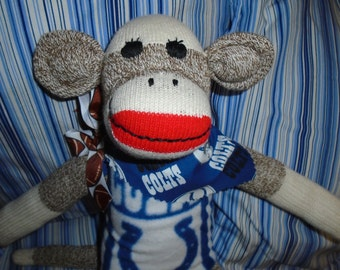 Indianapolis Colts Football Brown Red Heel Classic Sock Monkey Doll