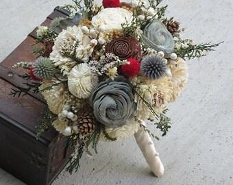 Wedding Bouquet, Sola wood Bouquet, Dried Bouquet, Alternative Bouquet, Bridal Bouquet, Sola flowers, Wood Bouquet