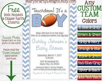 Football Baby Shower Invitation - Tailgate It's a Boy Oh Boy Twins Sprinkle Chevron - Diaper Raffle Ticket Book Request Package - Printable