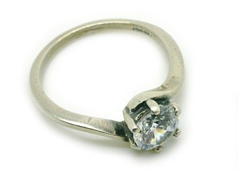 Engagement Ring Size 5.75, 925 Sterling Silver Ring Jewelry, Zircon Ring, Gift