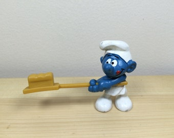 Vintage Baker/ Bread Maker Smurf - Made in W. Germany Pre 1989 Before The Berlin Wall Came Down