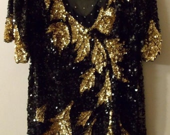 SWEE LO Black+Gold Sequin+SILK Short Sleeve Blouse / Top