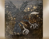 raven textured art painting original impasto black rust 24x24 FREE SHIP