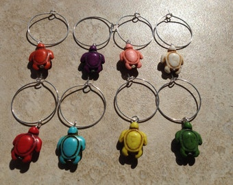 Turtle Wine Glass Charms, Sea Turtle Wine Charms, Stone Turtle Charms
