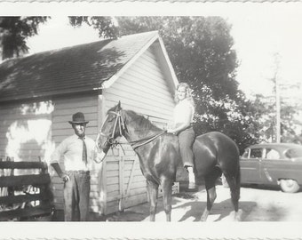All My Own - Vintage 1950s Girl on Gift Horse Photograph