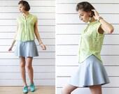 ROBERT FRIEDMAN Vintage green polka dot thin cotton sleeveless shirt blouse