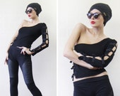 French vintage black asymmetrical buckle cut out one sleeve top S