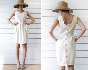 French vintage cream white back button sleeveless fitted formal midi dress S