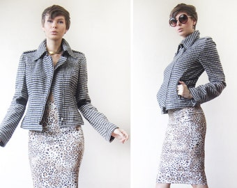MARC CAIN Black white wool checkered cropped fitted moto jacket coat