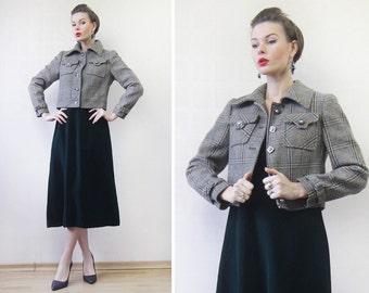 80s Vintage green beige brown plaid wool single breasted cropped coat blazer jacket S-M