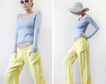 MISS SIXTY vintage bright yellow pure linen sporty relaxed fit wide leg pants trousers L