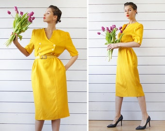 Vintage brigth mustard yellow short sleeve double breasted over the knee wiggle midi dress L